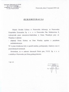 Rekomendacja Miejskiego ośrodka Kultury w Przeworsku