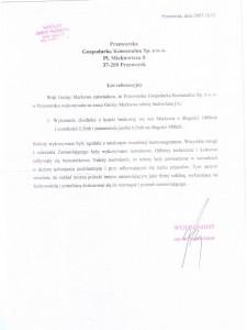 List referencyjny Wójta Gminy Markowa