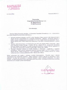 List referencyjny Burmistrza Miasta Przeworska